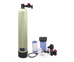 Salt-free hard water scale reduction and chlorine filtration